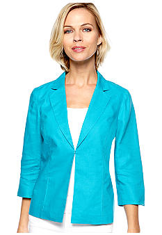 Kim Rogers Linen Jacket with Notch Collar