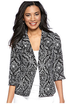 Kim Rogers Linen Notch Collar Medley Print Jacket