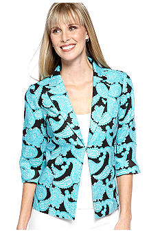 Kim Rogers Linen Notch Collar Paisley Printed Jacket