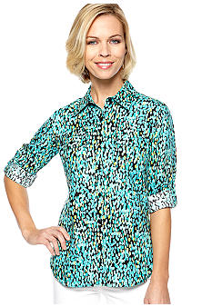 Kim Rogers Button Front Printed Linen Shirt