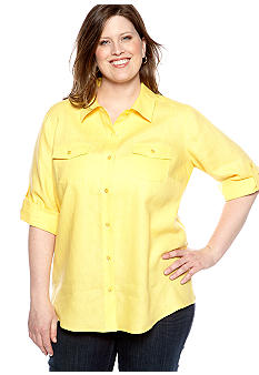 Plus Size Linen Button Front Blouse