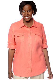 Kim Rogers Plus Size Linen Button Front Blouse