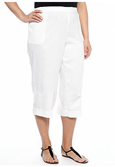 Kim Rogers Plus Size Linen Crop Pants
