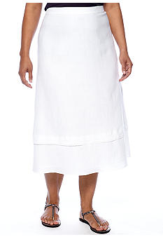 Kim Rogers Plus Size Linen Tiered Skirt