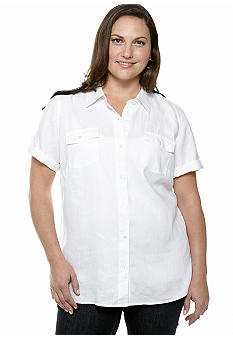 Kim Rogers Plus Size Linen Roll Tab Sleeve Solid Camp Shirt