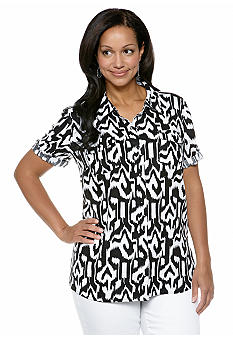 Kim Rogers Plus Size Linen Roll Tab Sleeve Printed Camp Shirt