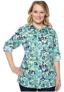 Kim Rogers® Plus Size Floral Linen Equipment Shirt