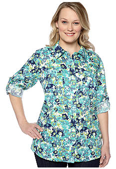 Kim Rogers Plus Size Floral Linen Equipment Shirt