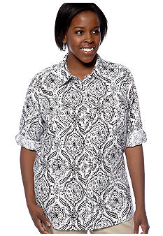 Kim Rogers Plus Size Medallion Printed Linen Blouse
