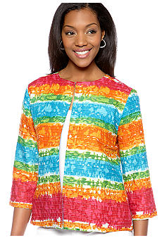 Choices Printed Three Quarter Sleeve Round Neck Jacket