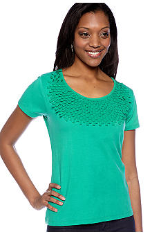 Choices Solid Short Sleeve Laser Cut Top
