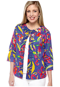 Choices Printed Three Quarter Sleeve Rouched Collar Jacket