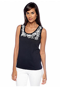 Choices Solid Soutache Neckline Tank