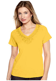 Choices Solid Raglan Embellished Short Sleeve Top