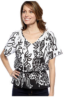 Choices Printed Peasant Top