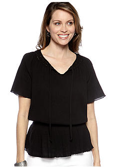 Choices Solid Short Sleeve Peasant Top