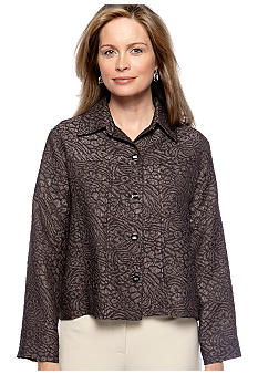 Choices Crown Jewels Long Sleeve Solid Jean Style Jacquard Jacket