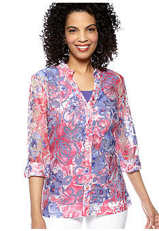 Choices Printed Three Quarter Sleeve Roll Tab Blouse