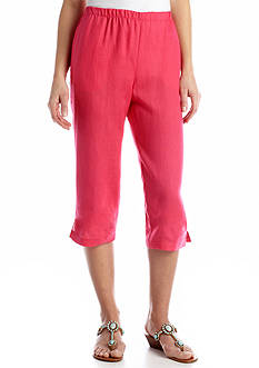 Choices Solid Pull-On Linen Capri