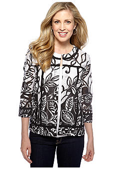 Choices Black and White Print Piping Jacket