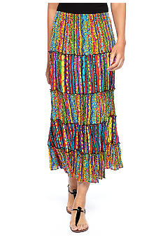 Choices Printed Elastic Waist Five Tiered Skirt