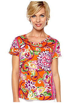 Choices Printed Short Sleeve Round Neck Beaded Tee
