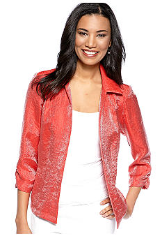 Choices Solid Three Quarter Sleeve Shimmer Jacket with Rouched Cuff