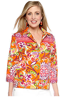 Choices Three Quarter Sleeve Twill Jacket With Beads