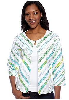 Ribbon Printed Three Quarter Sleeve Round Neck Jacket