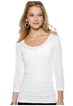 Energie Three-Quarter Sleeve Burnout Dot Top