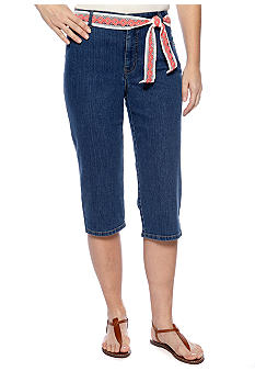 Kim Rogers Easy Fit Denim Capri With Crochet Belt