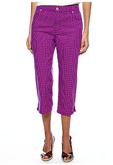 Kim Rogers Petite Easy Fit Capri - Purple Dot