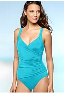 Calvin Klein Shirred Panel One Piece Swim Suit