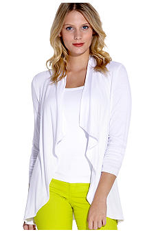 Karen Kane Electric Tide Shirred Sleeve Cardigan Sweater