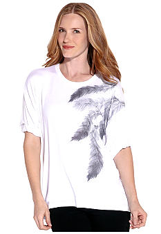 Karen Kane Indigo Bay Rolled Sleeve Feather Print Top