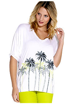 Karen Kane Electric Tide Rolled Sleeve Palm Tree Top