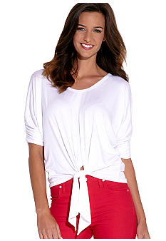 Karen Kane Coral Reef Shirred Sleeve Tie Top