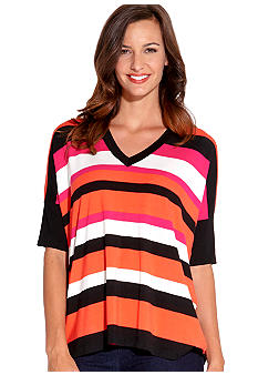 Karen Kane Coral Reef V Neck Stripe Tunic Top