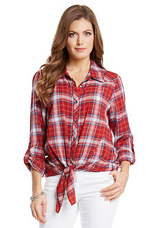 Karen Kane Plaid Tie Front Top
