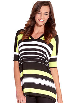 Karen Kane Electric Tide V-Neck Stripe Tunic Top