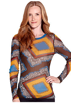 Karen Kane Indigo Bay Long Sleeve Crew Neck Tee