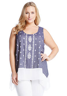 Karen Kane Plus Size Sheer Hem Chambray Tank