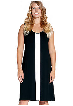 Karen Kane Plus Size Sleeveless Center Stripe Dress