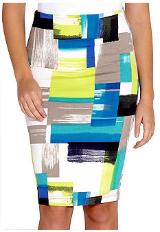 Karen Kane Electric Tide Geometric Print Pencil Skirt