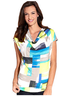 Karen Kane Electric Tide Drape Neck Top