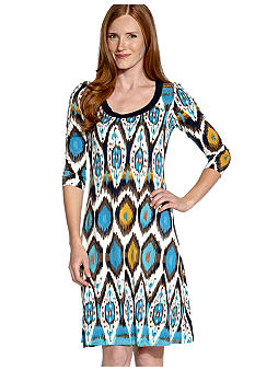 Karen Kane Indigo Bay Three Quarter Sleeve A-Line Dress