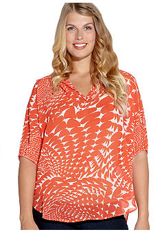 Karen Kane Plus Size Split Neck Top