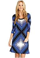 Karen Kane Electric Tide Three Quarter Sleeve A-Line Dress