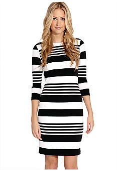 Karen Kane Electric Tide Three Quarter Sleeve Stripe Dress