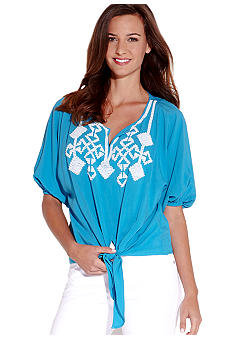 Karen Kane Indigo Bay Beaded Knot Top